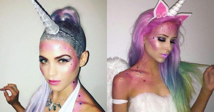 fantasia e maquiagem de unicórnio