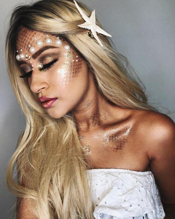 maquiagem de sereia dourada