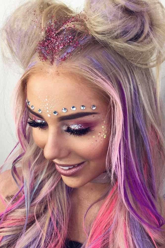 maquiagem de unicórnio cabelo colorido