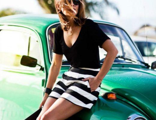 shorts listrado e blusa preta