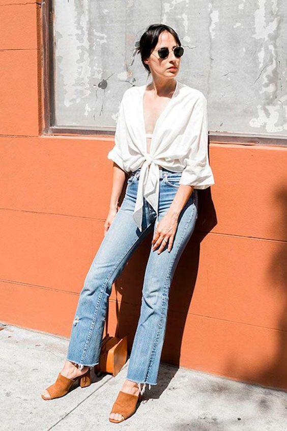 tie top branco e calça jeans looks