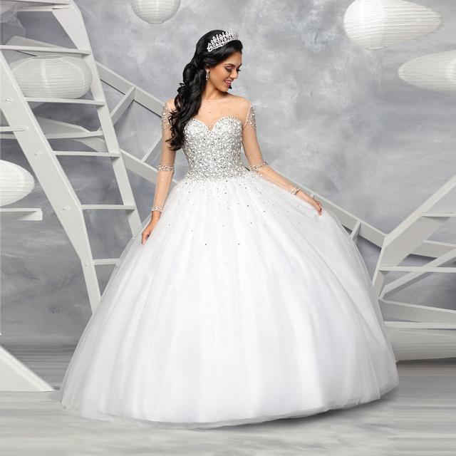 vestido 15 anos debutante branco longo