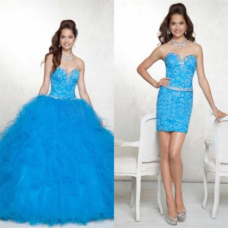 vestido debutante 15 anos azul 2 em 1