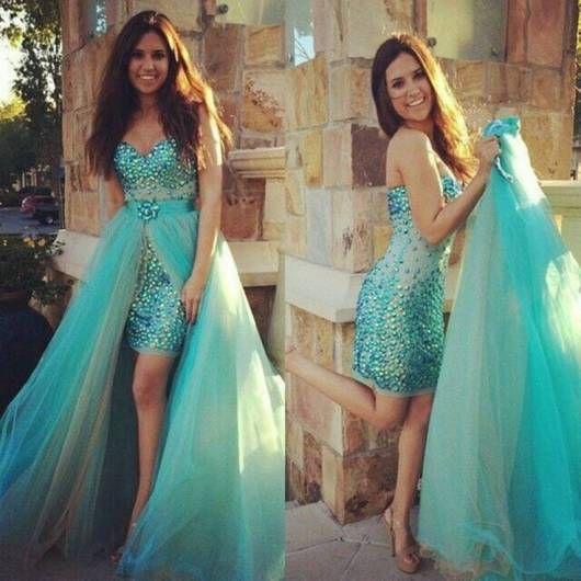 vestido debutante 15 anos azul água 2 em 1