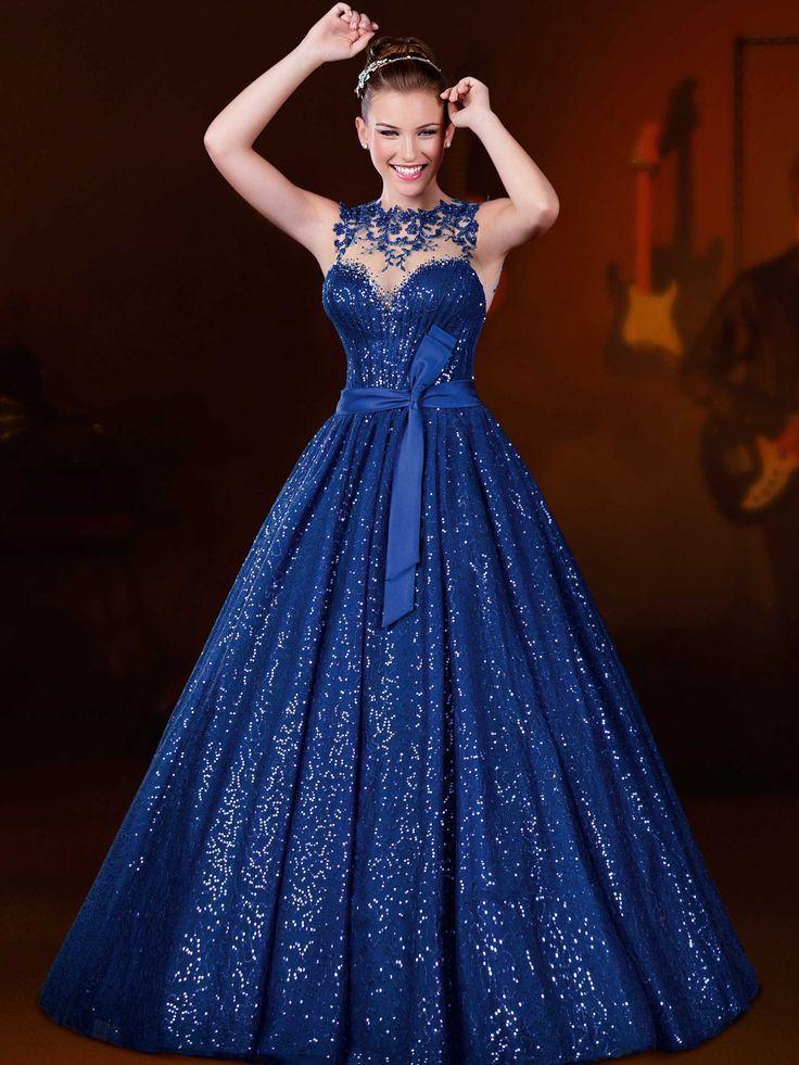 vestido debutante 15 anos azul escuro longo