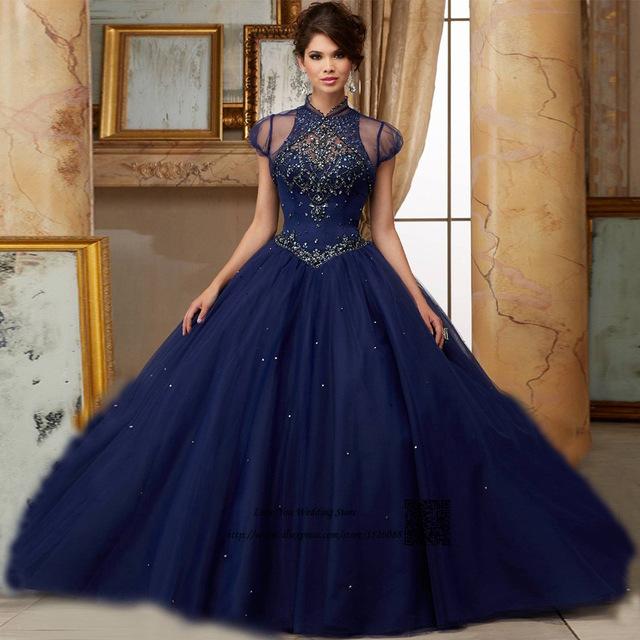 vestido debutante 15 anos azul escuro