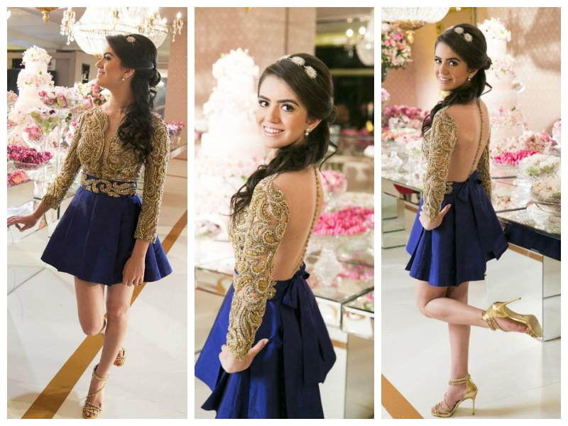vestido debutante 15 anos curto azul e dourado