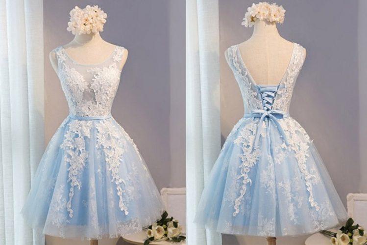 vestido debutante 15 anos curto azul