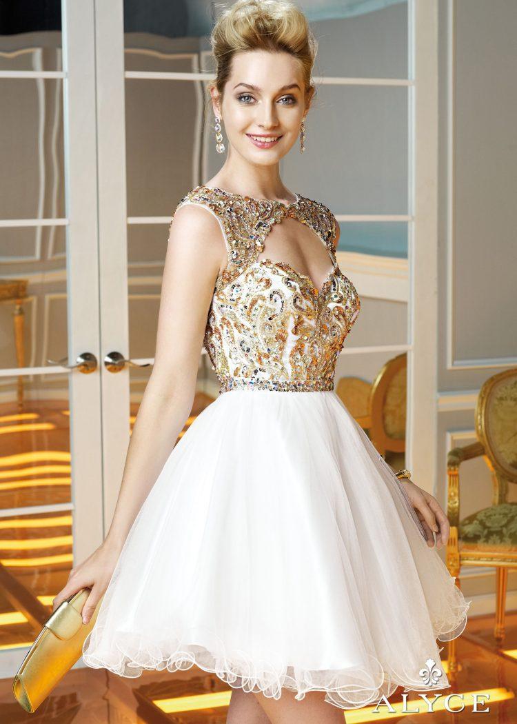vestido debutante 15 anos curto dourado e branco
