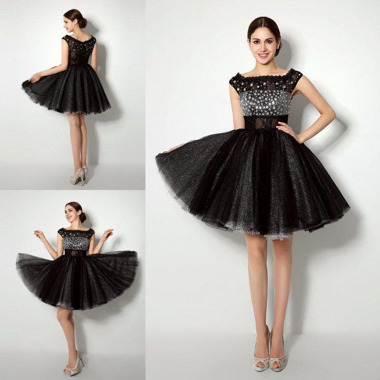 vestido debutante 15 anos curto preto