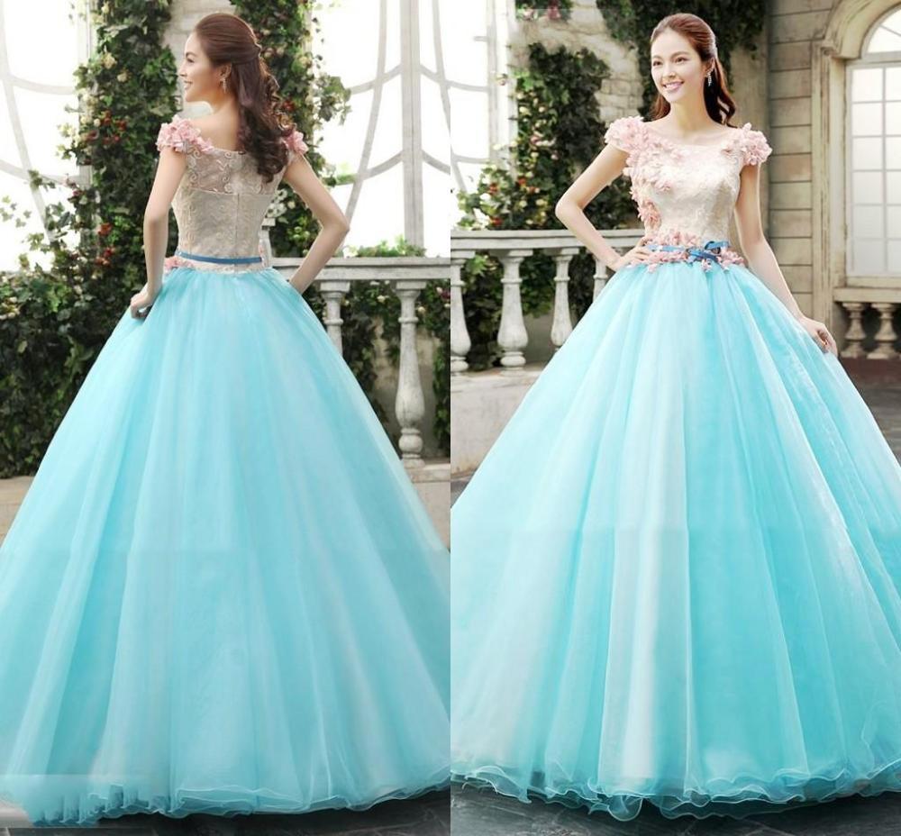 vestido debutante 15 anos longo azul claro