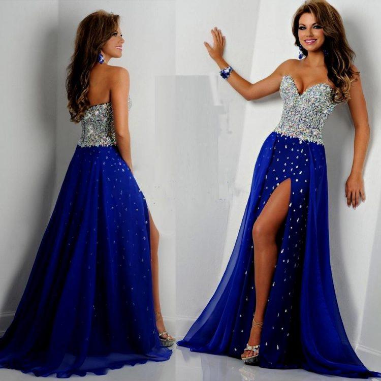 vestido debutante 15 anos longo azul e prata