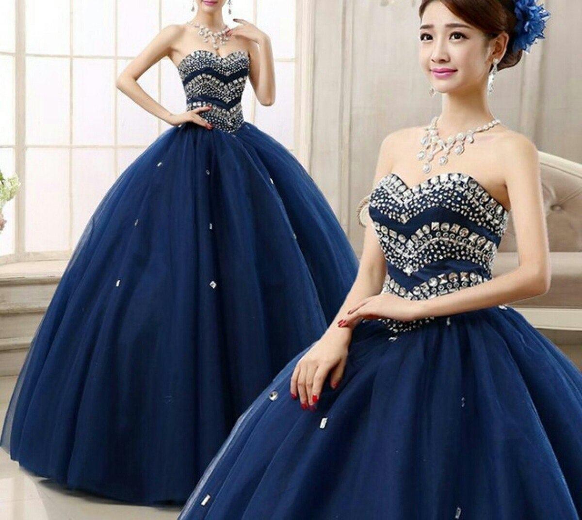 vestido debutante 15 anos longo azul