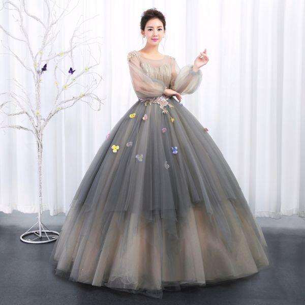 vestido debutante 15 anos longo cinza de tule