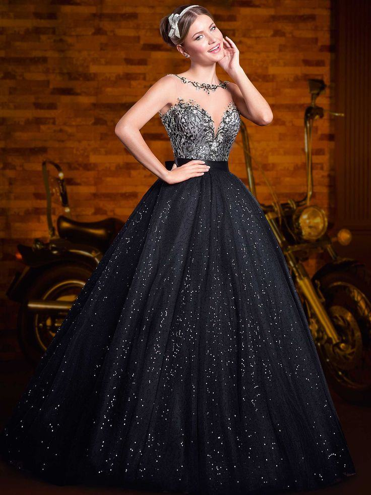 vestido debutante 15 anos longo preto