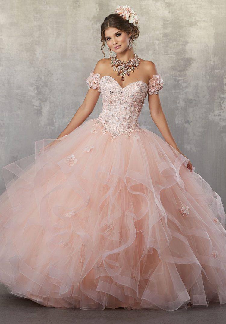 vestido debutante 15 anos longo rosa claro decote coração
