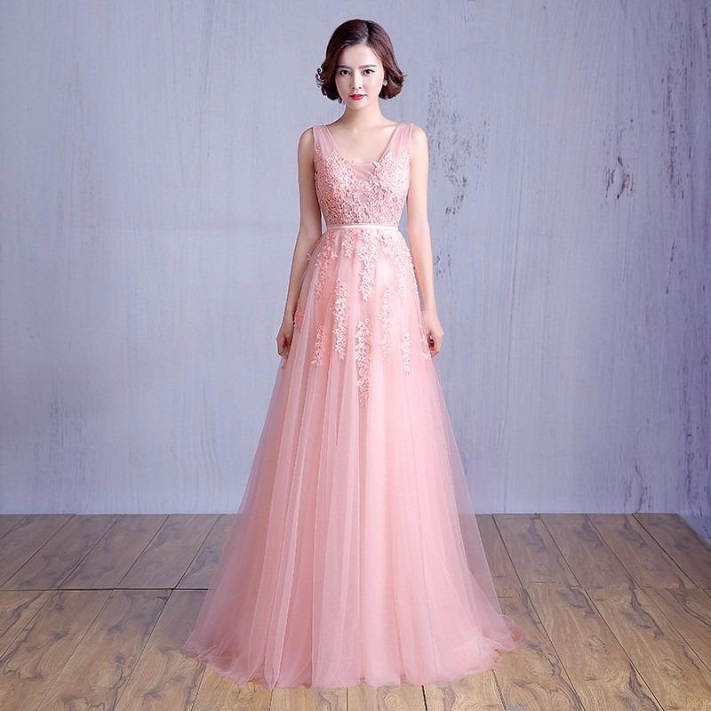 vestido debutante 15 anos longo rosa claro