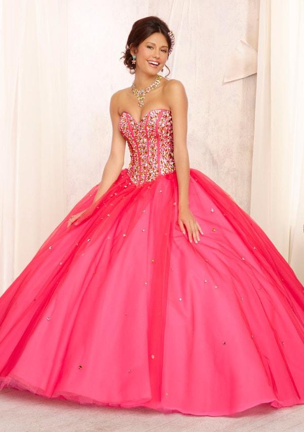 vestidos para debutante longo tomara que caia rosa com brilho