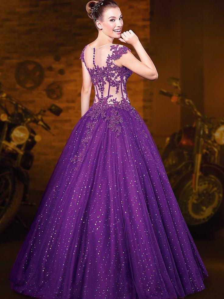 vestido debutante 15 anos longo roxo