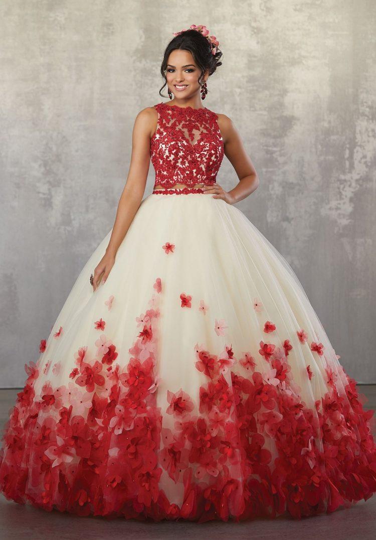 vestido debutante 15 anos longo vermelho renda e flores