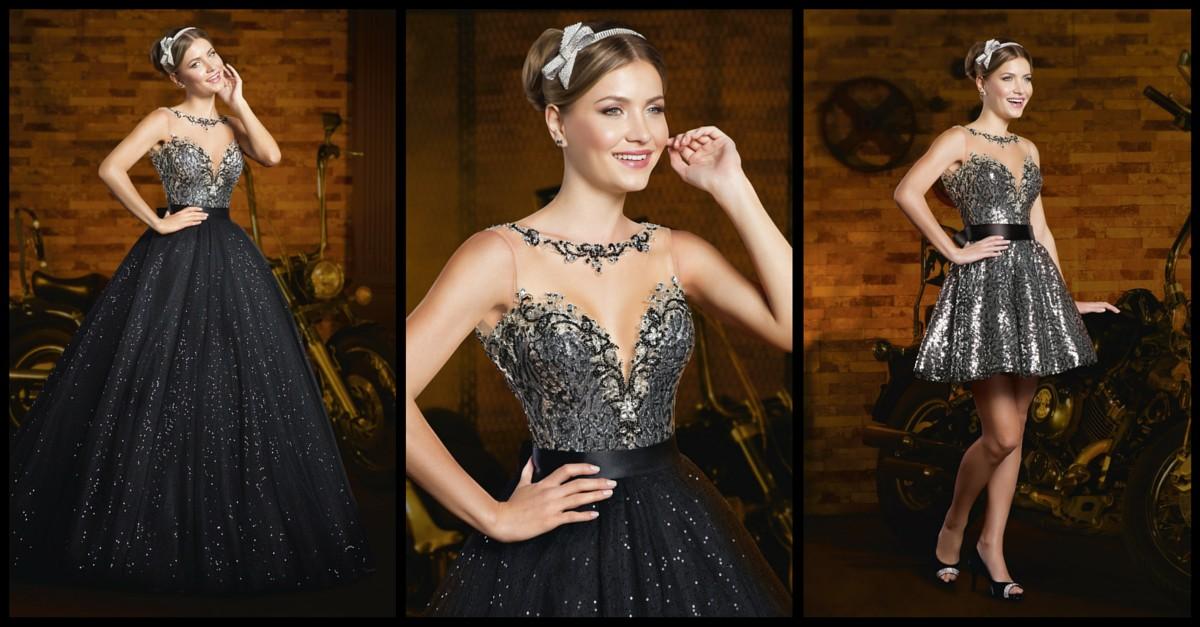 vestido debutante 15 anos preto 2 em 1 modelo