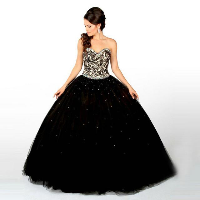 vestido debutante 15 anos preto longo estilo princesa