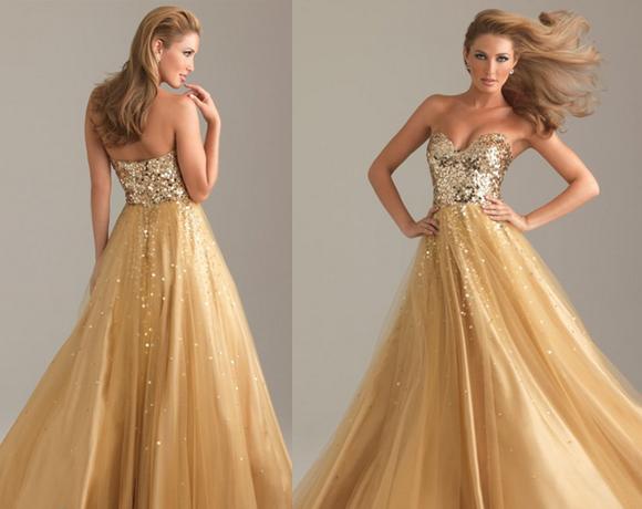 vestido debutante dourado longo
