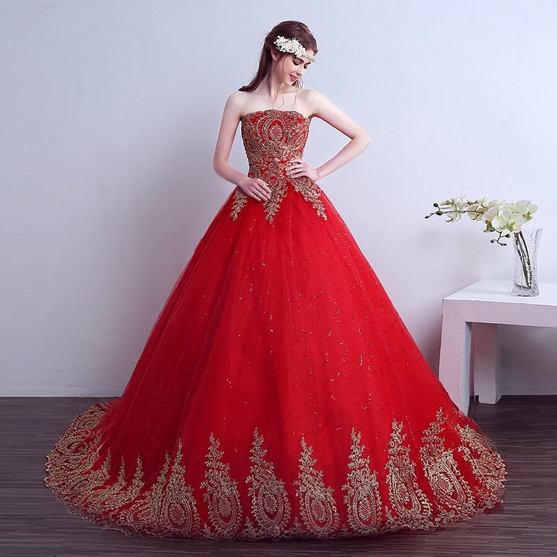 vestido debutante vermelho longo com dourado