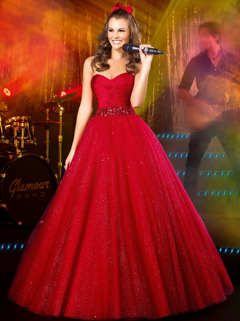 vestidos para debutante longo tomara que caia vermelho