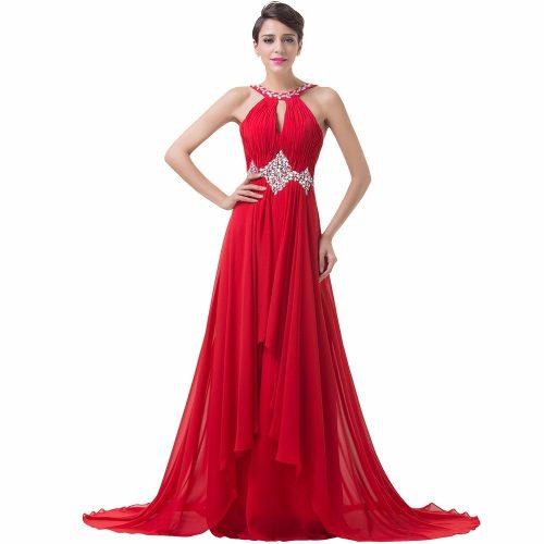 vestido longo debutante vermelho