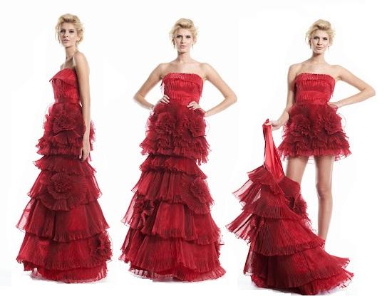 vestido vermelho debutante 2 em 1