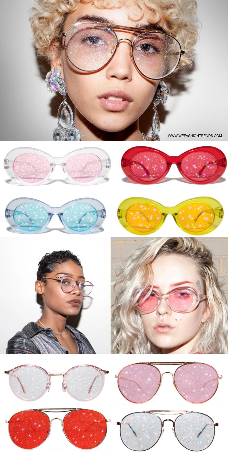 óculos com lente de glitter planet i - Gafas con purpurina en la lente es la nueva tendencia