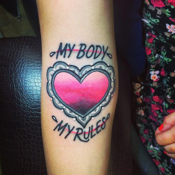tatuagem girl power feminista meu corpo minhas regras