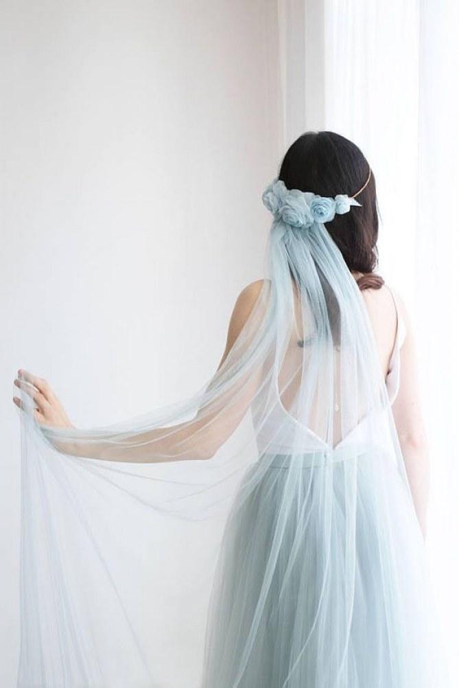 véu de noiva azul bebê