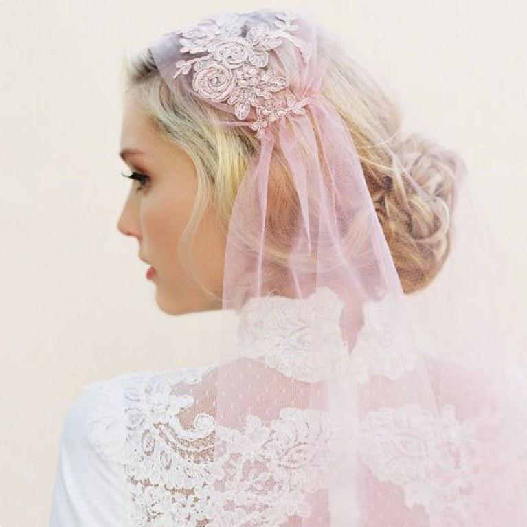 véu rosa noivas