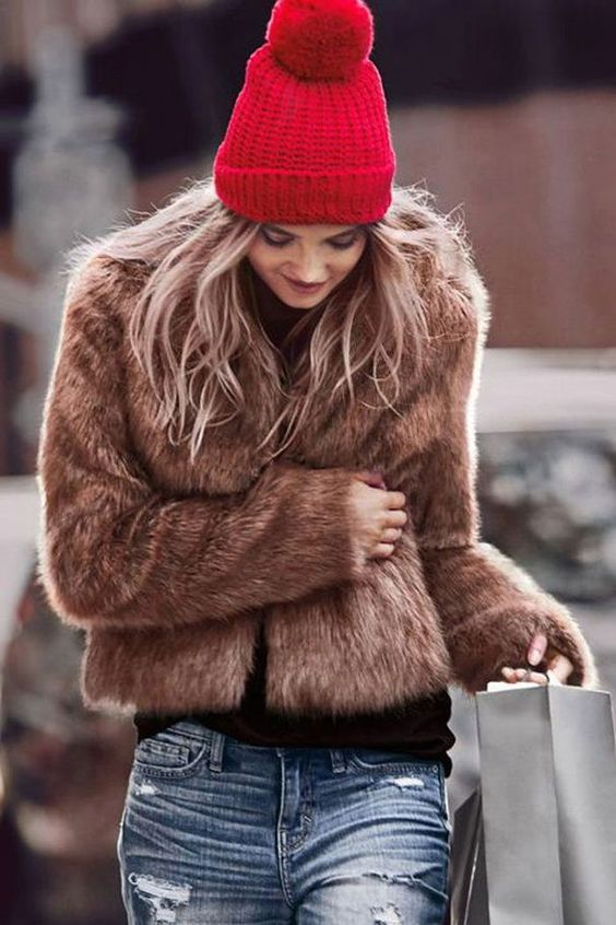 touca e gorro de lã jaqueta de pelos