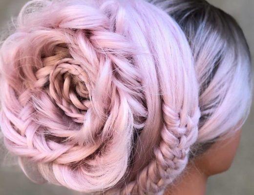 trança em formato de rosa penteado