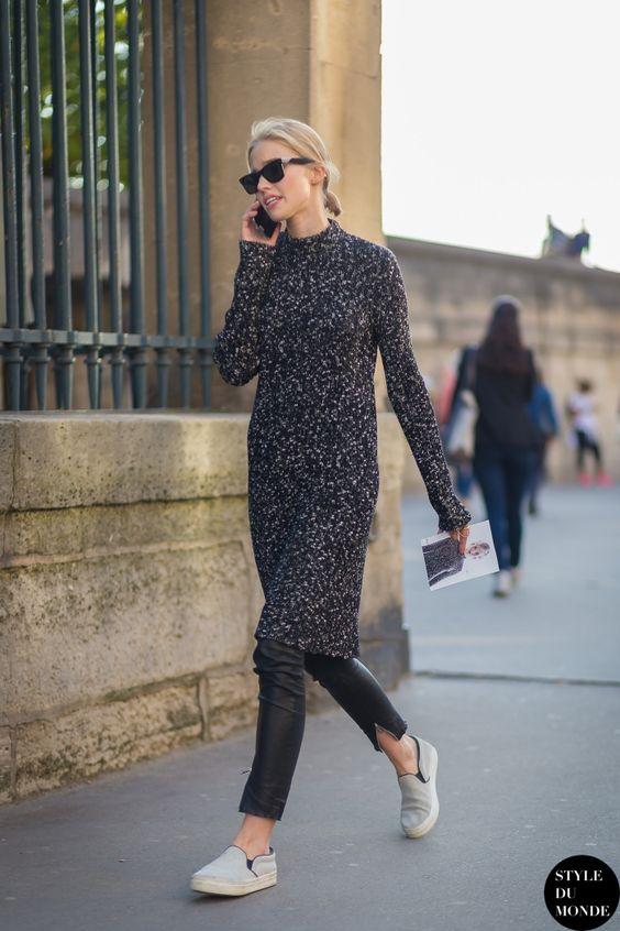 vestido de inverno por cima da calça