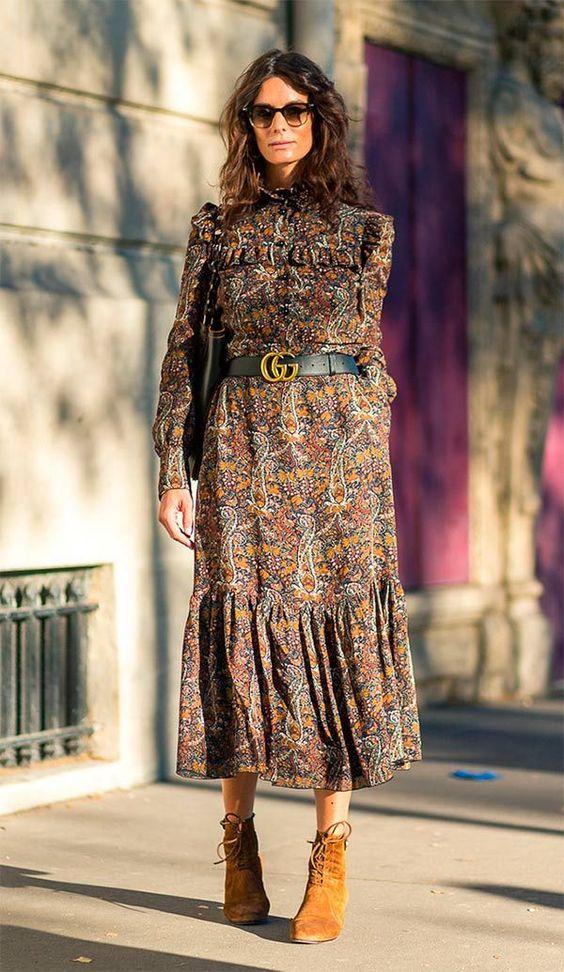 vestido floral com bota inverno