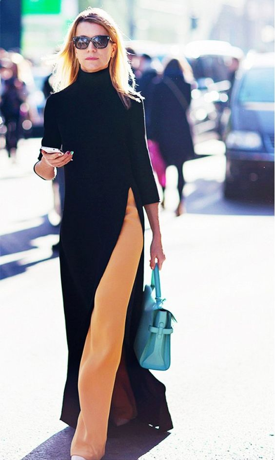vestido longo por cima da calça