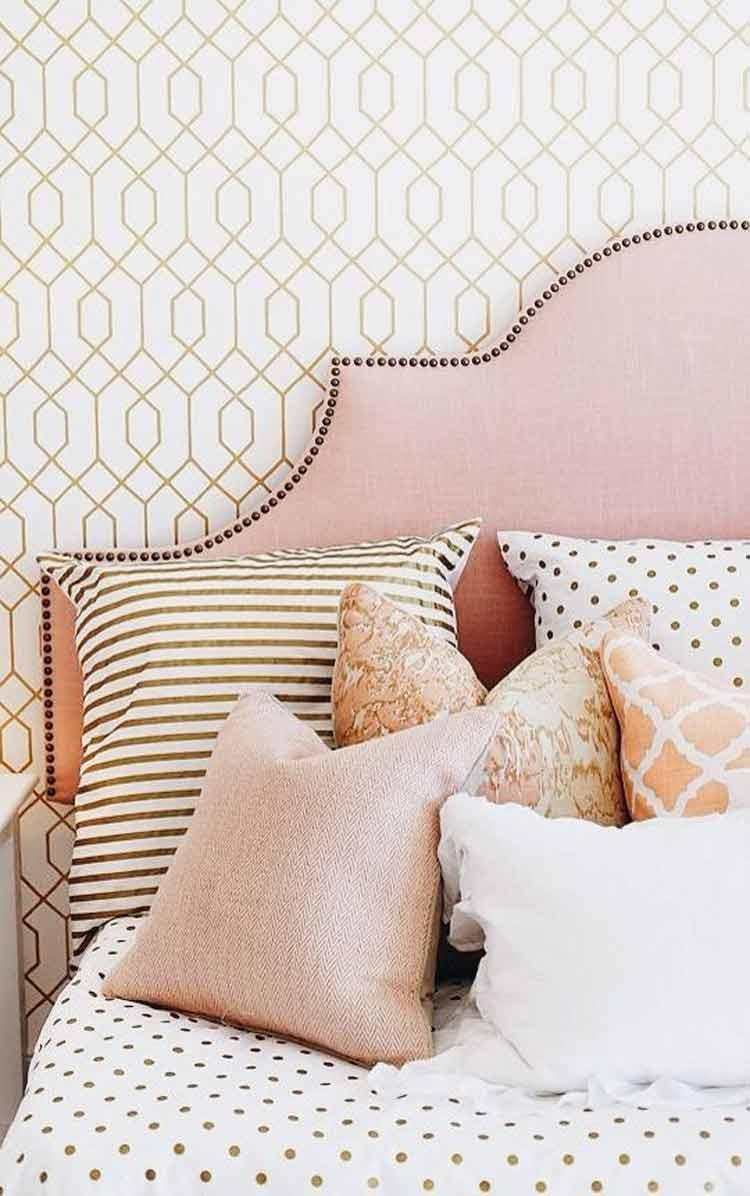 cabeceira-de-cama-rosa-decoração