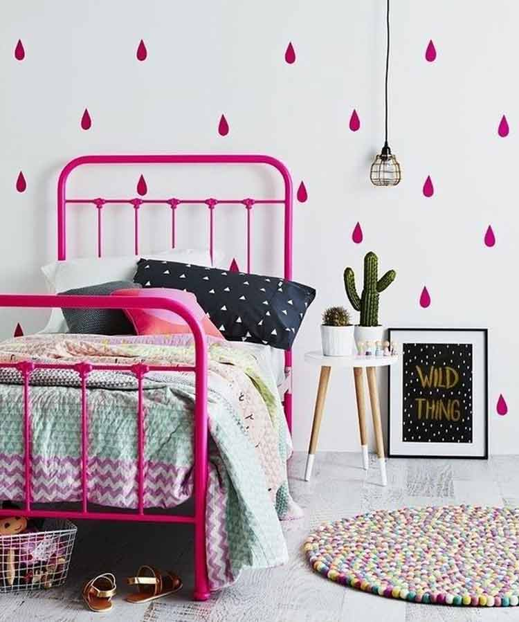 cor-de-rosa-cama-decoração