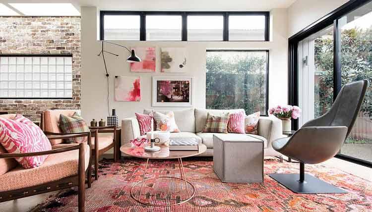 decoração-rosa-na-sala