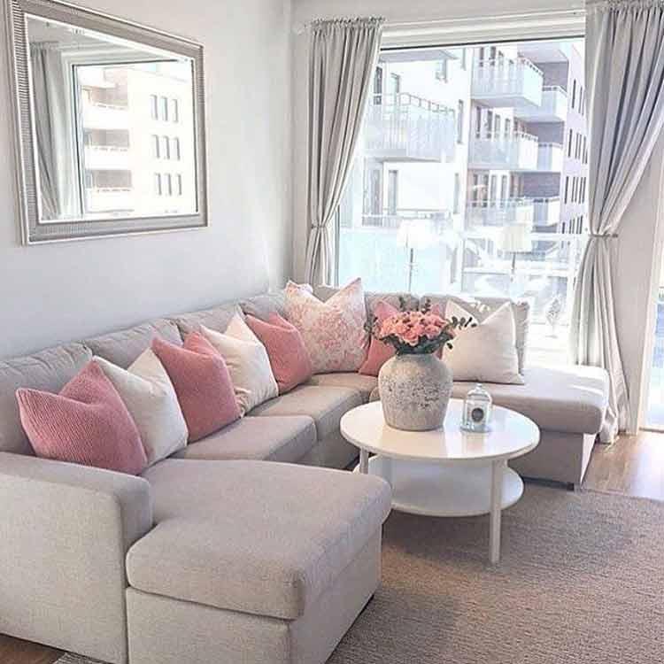 decoração-sala-rosa-e-cinza