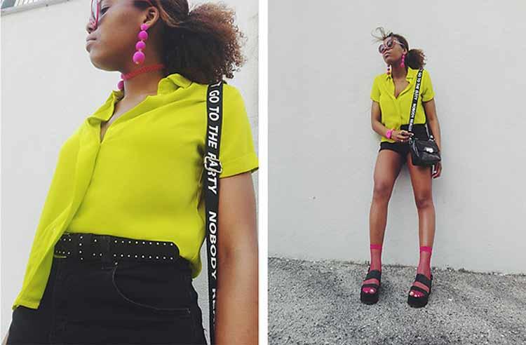 looks-neon-como-usar-camisa-amarela-e-brinco-rosa