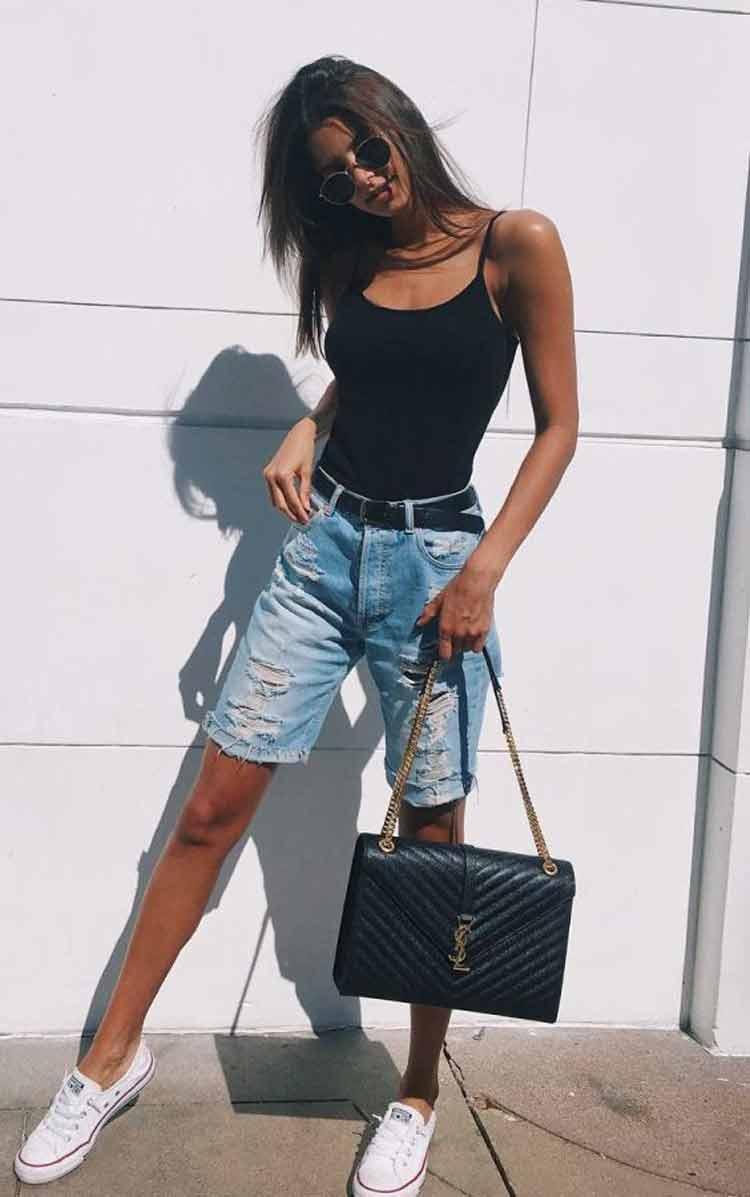 bermuda-jeans-e-regata-preta