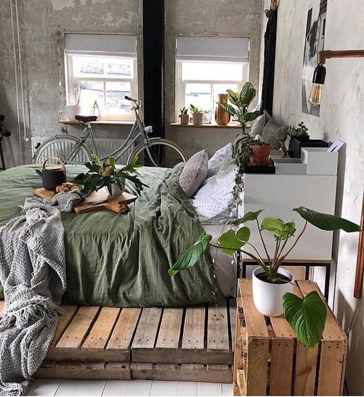 quarto-decoração-tumblr-folhagens