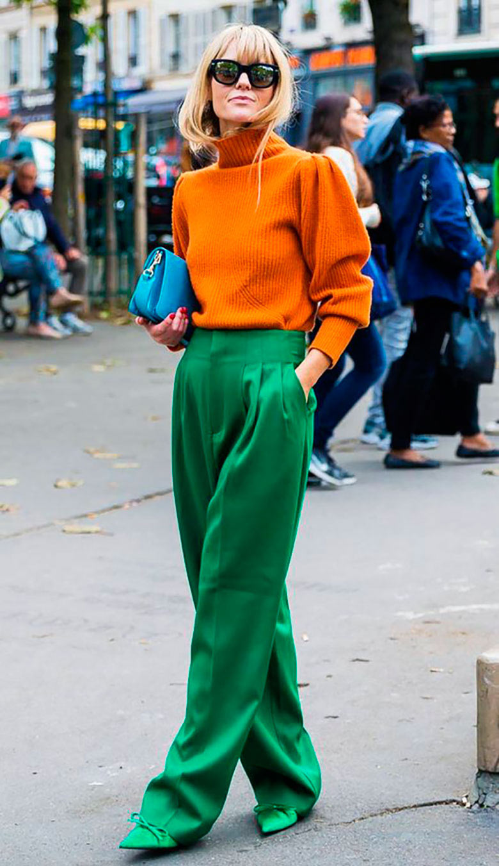 looks-com-bolsa-clutch-calca-palazzo-verde-e-blusão-laranja