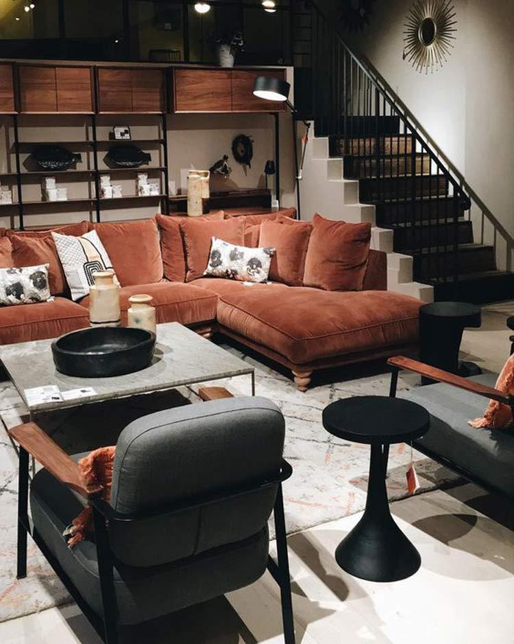decoração-com-veludo-sofá