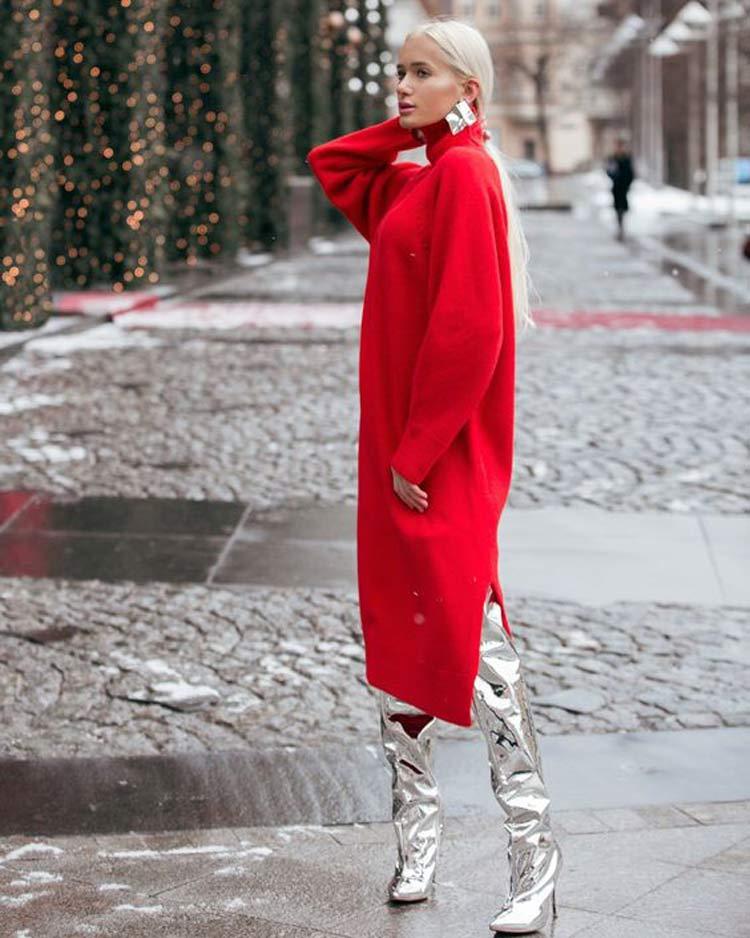 vestido-vermelho-e-bota-prata-looks